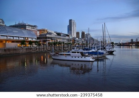Marina of Buenos Aires at sunset, Argentina - stock photo