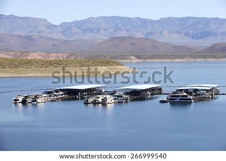 Marina on Roosevelt Lake, Arizona,USA  - stock photo