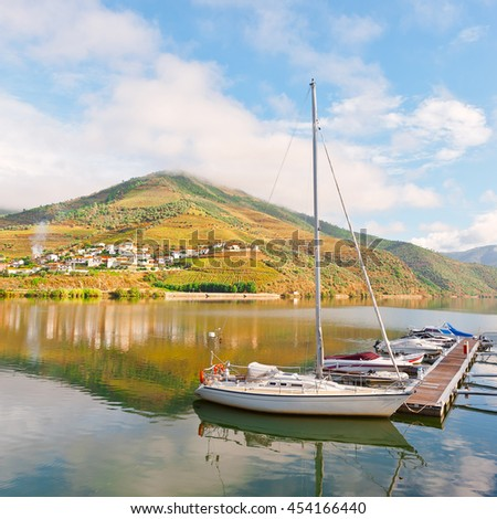 Marina on the Background of the Vineyards in the Valley of the River Douro, Portugal - stock photo