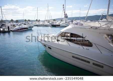 marina with luxury boats - stock photo