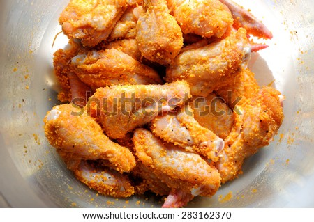 Marinated chicken wings. barbecue fastfood