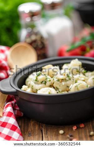 marinated mushrooms - stock photo