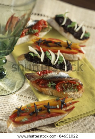 Marinated pepper, anchovy and tapenade Tapas
