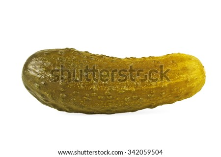 Marinated pickled cucumber isolated on white background - stock photo