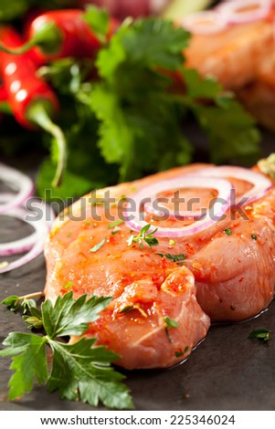 Marinated Pork Loin Steak with Onions and Parsley - stock photo