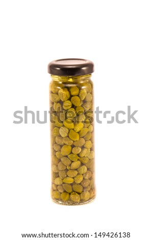 marinated potted glass jar with capers isolated on white background - stock photo