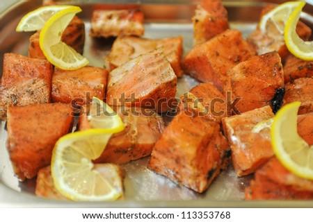 marinated salmon shashlik closeup photo - stock photo