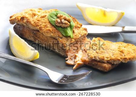 marinated salmon with walnut eschar - stock photo
