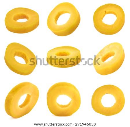 Marinated slices green olives isolated on white background  - stock photo