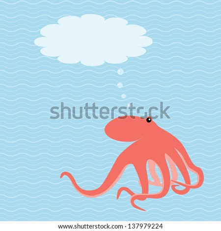 Marine card with octopus and place for text. Raster version. - stock photo