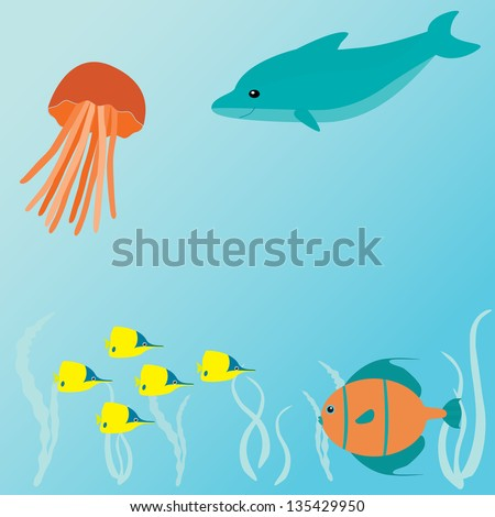 Marine card with sea creatures and place for text. Raster version. - stock photo