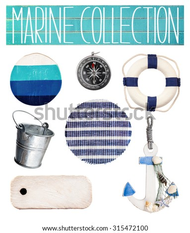 Marine clip-art collection of items isolated on white. - stock photo