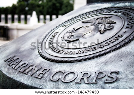 Marine Corps Insignia at World War II Memorial - stock photo