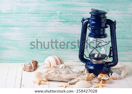 Marine items on wooden background. Sea objects on wooden planks. Selective focus. - stock photo