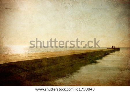 Marine landscape with a pier on the grunge background - stock photo