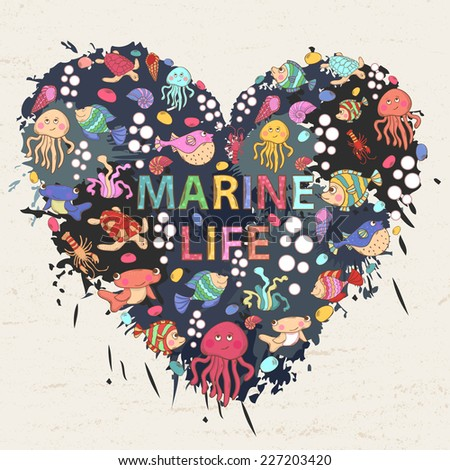 Marine life on the background of colorful blots, inks,themed design with elements:fish, turtle,shell,seaweed,jellyfish,coral,sea urchins,fish Hammer,lobster,bubbles in the shape of heart with text - stock photo