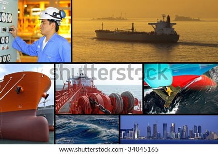Marine merchant fleet collage - tankers - stock photo