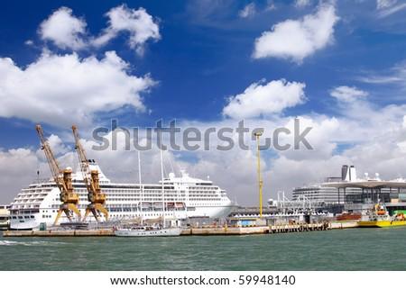 Marine moorage , sea port in Venice. Italy - stock photo