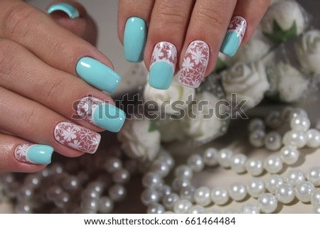 Beautiful nail polish closeup green nail stock photo 380807374 marine nail design white with blue prinsesfo Gallery