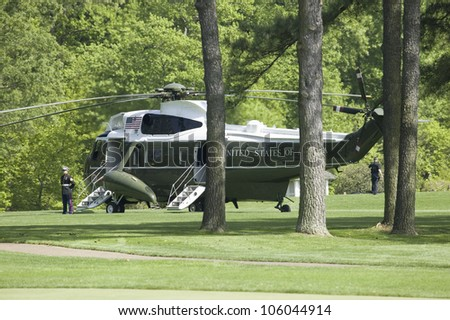 Marine One Presidential Helicopter sitting on golf course in Williamsburg, Virginia on May 4, 2007 awaiting the arrival of Her Majesty Queen Elizabeth II