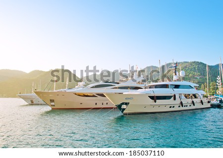Marine parking of boats and yachts in Turkey - stock photo