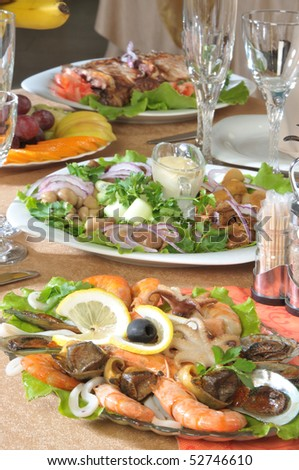 marine products appetizers on served table - stock photo