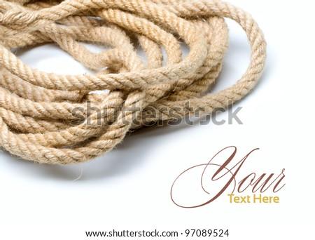 Marine rope on a white background - stock photo