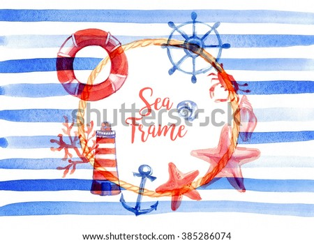 Marine round frame: rope, life buoy, lighthouse, algae, corals, stars, shells, helm, anchor, crab. Blue stripes on a white background. Watercolor - stock photo