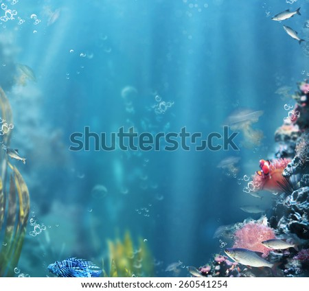 Marine. Sea Life. Aquarium with Fishes and Corals - stock photo