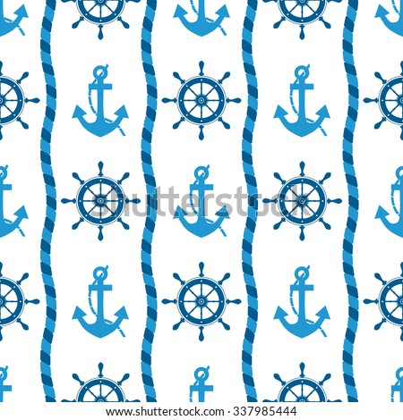 marine seamless pattern of sea anchors and helm - illustration