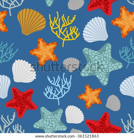 Marine seamless pattern. Starfish, scallop and corals. Clam shells and underwater polyps. Oceanic background. Marine Vintage fabric ornament