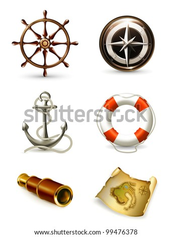 Marine set high quality icons, bitmap copy - stock photo