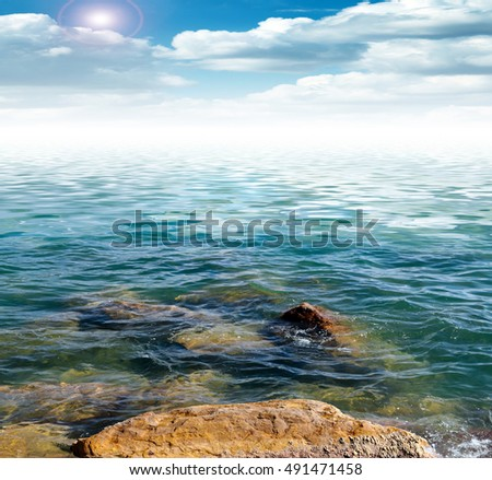 marine wild rocky beach and the water surface at the sky