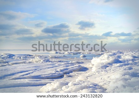 Marine winter landscape in sunny weather. Ukraine. Black Sea - stock photo