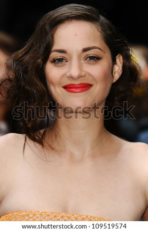 """Marion Cotillard arriving for European premiere of """"The Dark Knight Rises"""" at the Odeon Leicester Square, London. 18/07/2012 Picture by: Steve Vas / Featureflash - stock photo"""