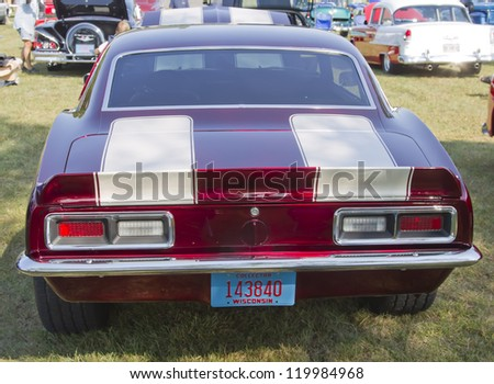 MARION, WI - SEPTEMBER 16: Back of 1968 Chevy Camaro car at the 3rd Annual Not Just Another Car Show on September 16, 2012 in Marion, Wisconsin. - stock photo
