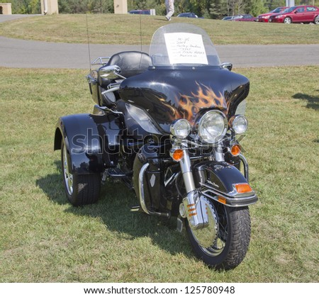 MARION, WI - SEPTEMBER 16: 2004 Harley Davidson Tryke motorcycle at the 3rd Annual Not Just Another Car Show on September 16, 2012 in Marion, Wisconsin.