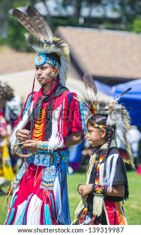 MARIPOSA ,USA - MAY 11 : An unidentified Native Indians takes part at the Mariposa 20th annual Pow Wow in California , USA on May 11 2013 ,Pow wow is native American cultural gathernig event.