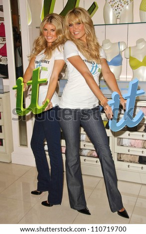 Marisa Miller and Heidi Klum at the launch of Victoria's Secret Body By Victoria Full-Coverage Uplift Bra. Victoria's Secret The Grove, Los Angeles, CA. 08-01-07