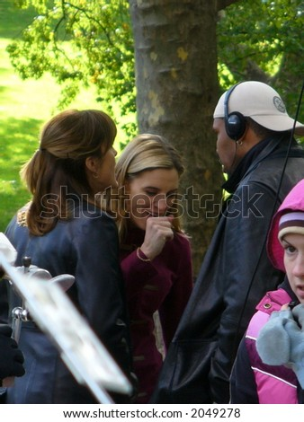 Mariska Hargitay, Isabel Gillies and Eriq La Salle on the set of Law & Order: Special Victims Unit in New York City(visible Noise at Full Size)