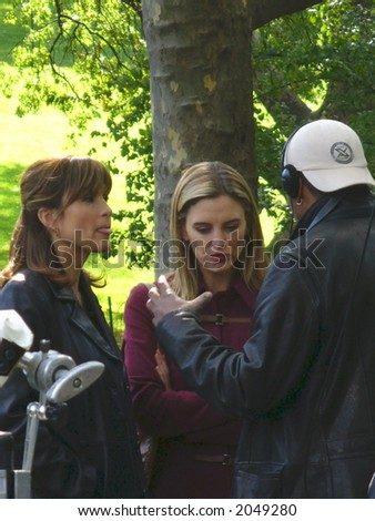 Mariska Hargitay, Isabel Gillies and Eriq La Salle on the set of Law & Order: Special Victims Unit in New York City (visible Noise at Full Size)