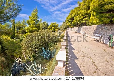 Marjan hill above Split mediterranean walkway view, Dalmatia, Croatia - stock photo