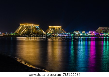 Marjan Island, Ras Al Khaimah, United Arab Emirates - 12/31/2017: The view of Rixos Bab Al Bahr on new year's eve.