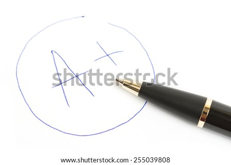 mark A+ with pen isolated on white - stock photo