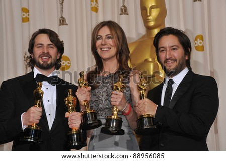 Mark Boal & Kathryn Bigelow & Greg Shapiro at the 82nd Annual Academy Awards at the Kodak Theatre, Hollywood. March 7, 2010  Los Angeles, CA Picture: Paul Smith / Featureflash