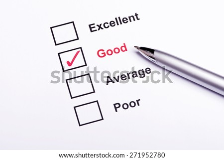 Mark Good on performance  evaluation - stock photo