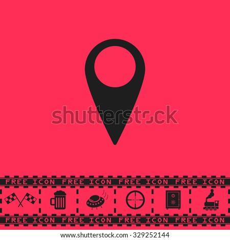Mark, pointer. Black flat illustration pictogram and bonus icon - Racing flag, Beer mug, Ufo fly, Sniper sight, Safe, Train on pink background - stock photo