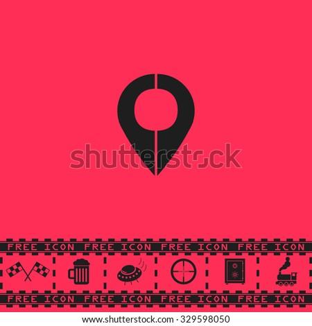 Mark pointer. Black flat illustration pictogram and bonus icon - Racing flag, Beer mug, Ufo fly, Sniper sight, Safe, Train on pink background - stock photo