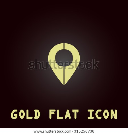 Mark pointer. Gold flat icon. Symbol for web and mobile applications for use as logo, pictogram, infographic element - stock photo