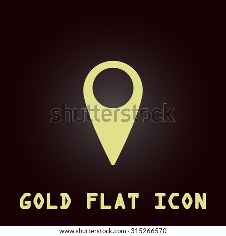Mark, pointer. Gold flat icon. Symbol for web and mobile applications for use as logo, pictogram, infographic element - stock photo